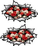 Small handed Oval Ripped Pair Metal Design With Skull & Rose Motif Vinyl Car Sticker 85x50mm Each